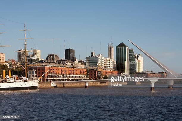 Frigate Presidente Sarmiento BoatMuseum And Santiago Calatrava's Puente De La Mujer In Puerto Madero Buenos Aires Capital Federal Argentina