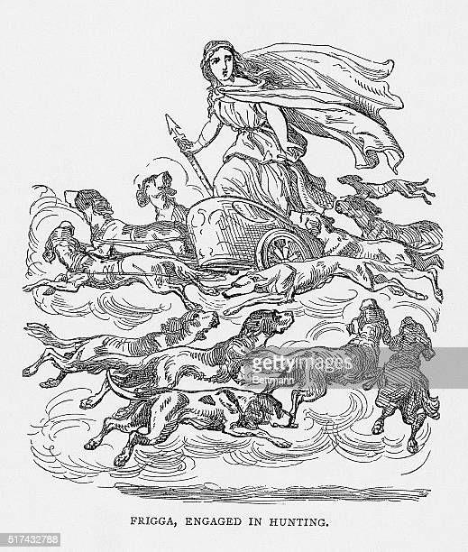 Frigga the supreme Norse goddess of Asgad engaged in hunting Undated illustration