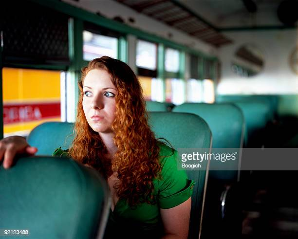 Frightened Young Female Passenger on a Train Alone