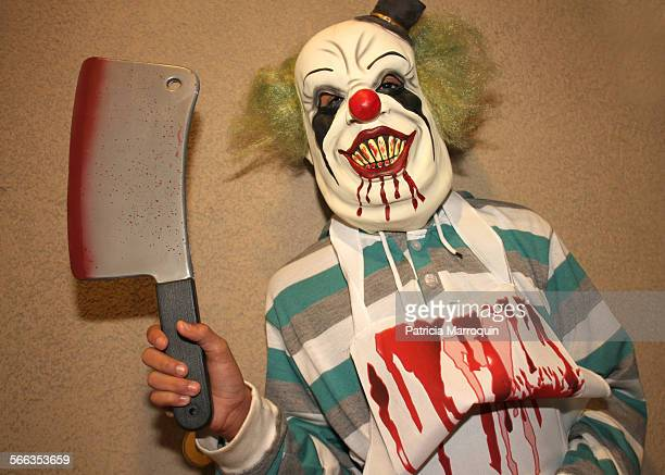 A frightening bloody killer clown