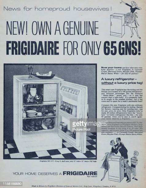 Frigidaire refrigerator with the door open showing the shelving and contents Original Publication Picture Post Ad Vol 75 No 8 P 2 pub 25th May 1957