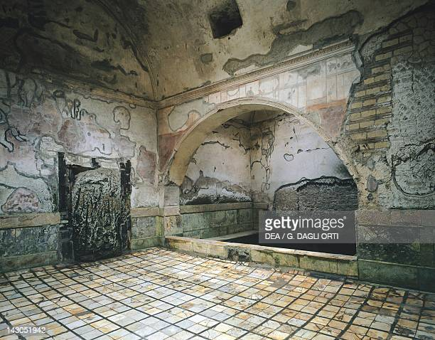 Frigidarium with a bath fed by the ancient fistula Suburban Baths in Herculaneum Campania Roman Civilisation 1st Century