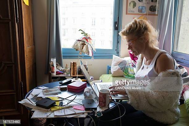 Frigide Barjot spokeswoman of the movement against gay marriage at her home on April 21, 2013, in Paris, France.