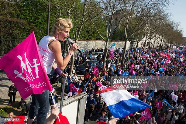 Frigide Barjot spokeswoman of the movement against the gay marriage speaks during the march La Manif pour Tous against the project of law of the government , on april 21, 2013, in Paris, France.