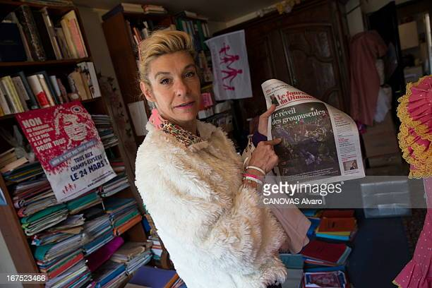 Frigide Barjot spokeswoman of the movement against the gay marriage at her home on April 21, 2013 in Paris, France.