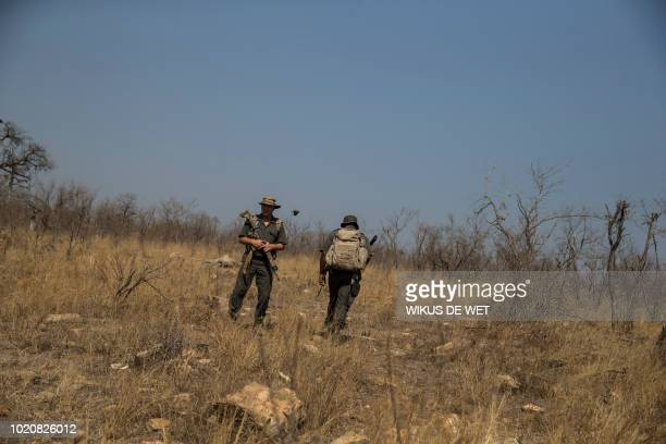 Frik Russouw senior investigator of the South African National Parks Environmental Unit walks towards the scene where a poached rhino was found on...