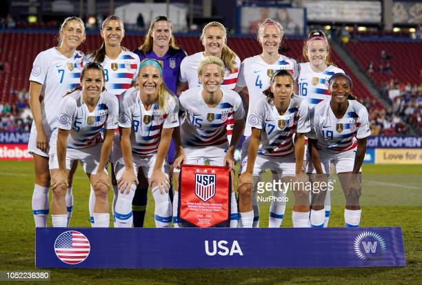 Abby Dahlkemper Alex Morgan Alyssa Naeher Lindsey Horan Becky Sauerbrunn and Rose Lavelle of USA Front Row Kelley O'Hara Julie Ertz Megan Rapinoe...