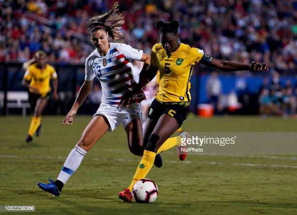 Frisco October 14 2018 LR Tobin Heath of USA and Konya Plummer of Jamaica During Concacaf Women's Championship SemiFinal match between USA against...