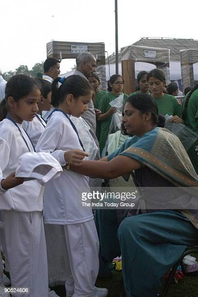 Frisking School Children at the 60th Independence Day celebration function at Red Fort in the morning of August 15 New Delhi India