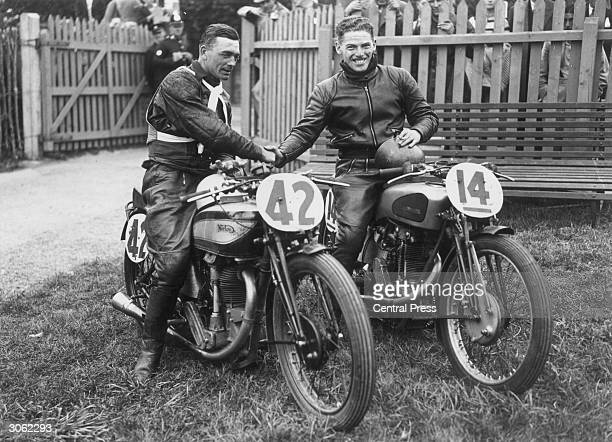 Frith on a Norton winner of the Junior Manx Grand Prix shakes hands with R Harris on a New Imperial after the latter had won the lightweight class