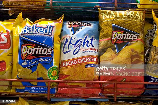 FritoLay's baked light and natural Doritos snack chips sit on display in an Associated Supermarket in New York on September 30 2004