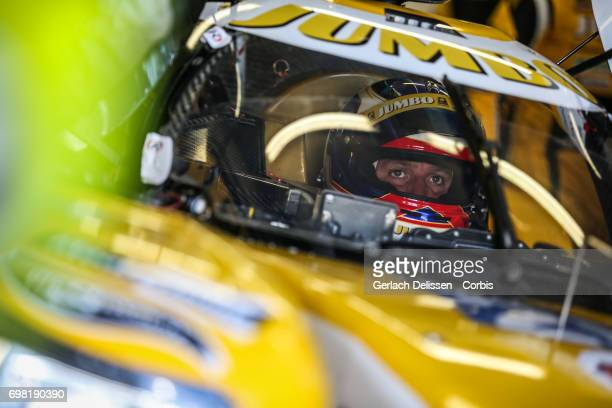 Frits Van Eerd of the LMP2 Racing Team Nederland Dallara P217Gibson waiting in the car during the Le Mans 24 Hours race on June 17 2017 in Le Mans...