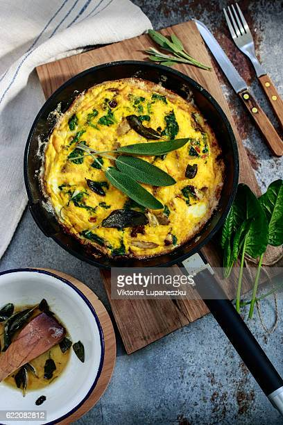 frittata with mushrooms and spinach
