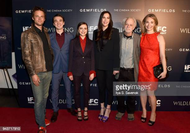 Fritz Bohm Colin KellySordelet Bell Powley Liv Tyler Brad Dourif and Celine Rattray attend 'Wildling' New York Screening at iPic Theater on April 8...