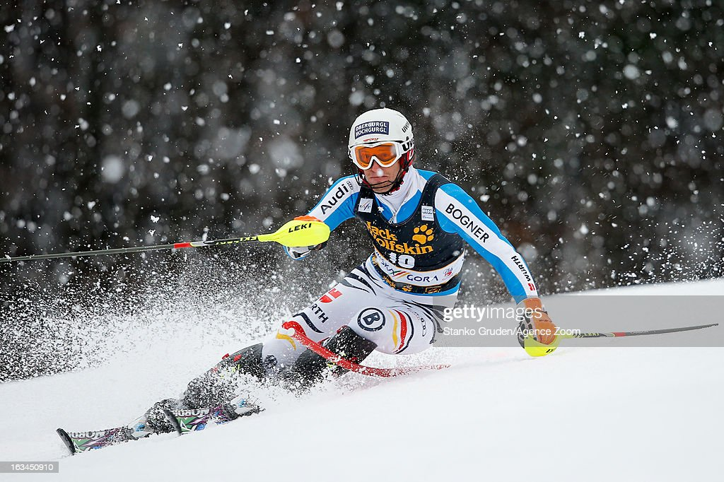 Fritz Dopfer of Germany competes during the Audi FIS Alpine Ski World Cup Men's Slalom on March 10, 2013 in Kranjska Gora, Slovenia.
