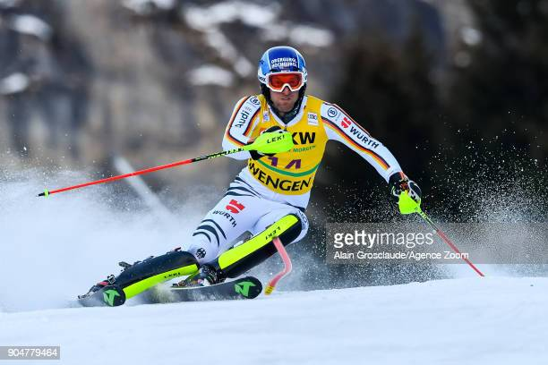 Fritz Dopfer of Germany competes during the Audi FIS Alpine Ski World Cup Men's Slalom on January 14 2018 in Wengen Switzerland