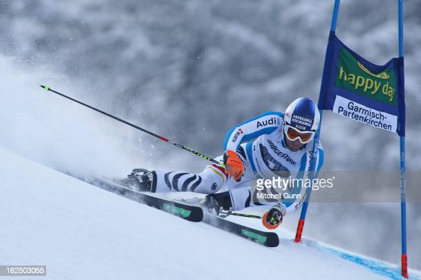 Fritz Dopfer of Germany races down the course whilst competing in the Audi FIS Alpine Ski World Cup Men's Giant Slalom on February 24 2013 in...