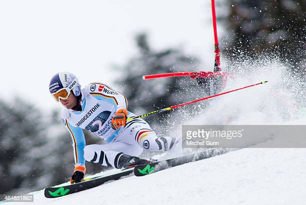 Fritz Dopfer of Germany races down the Kandahar course during the Audi FIS Alpine Ski World Cup giant slalom race on March 1 2015 in...