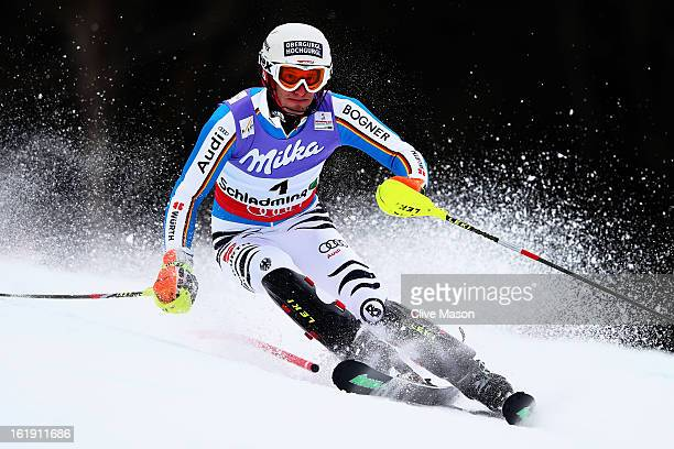 Fritz Dopfer of Germany skis in the Men's Slalom during the Alpine FIS Ski World Championships on February 17, 2013 in Schladming, Austria.