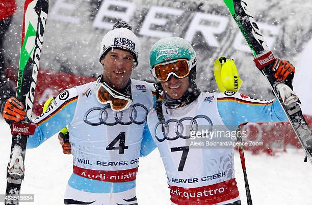 Fritz Dopfer of Germany wins the silver medal Felix Neureuther of Germany wins the bronze medal during the FIS Alpine World Ski Championships Men's...