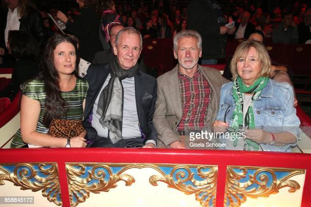Fritz Egner and his wife Karin Egner, Paul Breitner and his wife Hilde Breitner during the premiere of the Circus Roncalli '40 Jahre Reise zum...