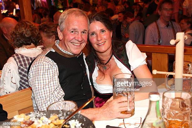 Fritz Egner and his wife Katrin during Oktoberfest at Schuetzenzelt Theresienwiese on September 23 2014 in Munich Germany