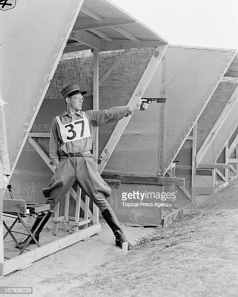 Fritz Hegner of Switzerland on the shooting range at Bisley Surrey during the modern pentathlon event at the Olympic Games 2nd August 1948