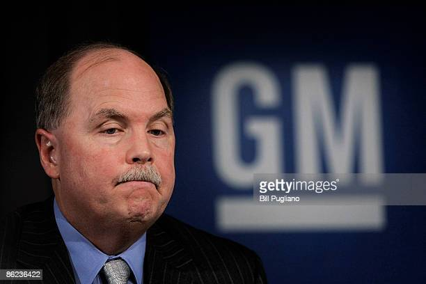 Fritz Henderson CEO and President of General Motors discusses GM's Viability Plan at a press conference at GM world headquarters April 27 2009 in...