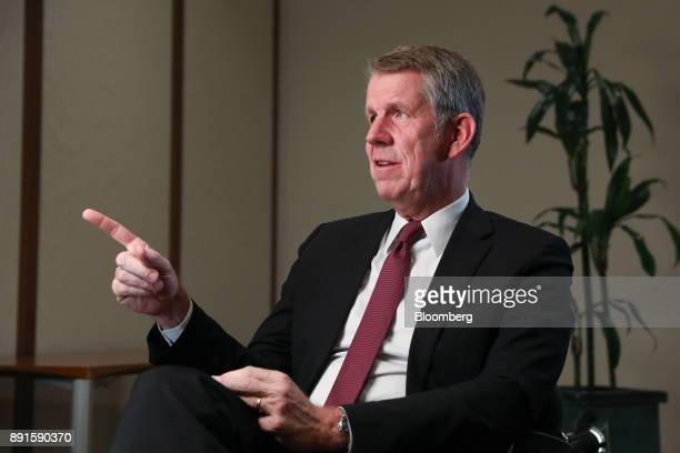 Fritz Joussen chief executive officer of TUI AG gestures while speaking during a Bloomberg Television interview in London UK on Wednesday Dec 13 2017...
