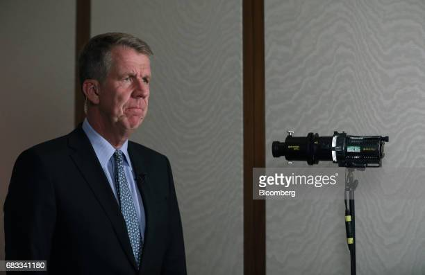 Fritz Joussen, chief executive officer of TUI AG, pauses during a Bloomberg Television interview in London, U.K., on Monday, May 15, 2017. Air...
