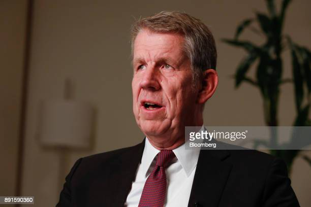 Fritz Joussen chief executive officer of TUI AG speaks during a Bloomberg Television interview in London UK on Wednesday Dec 13 2017 UK customers are...