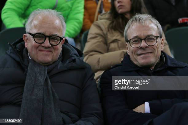 Fritz Keller, DFB president and Peter Peters, board member of FC Schalke 04, DFB and DFL watch the UEFA Euro 2020 Qualifier between Germany and...