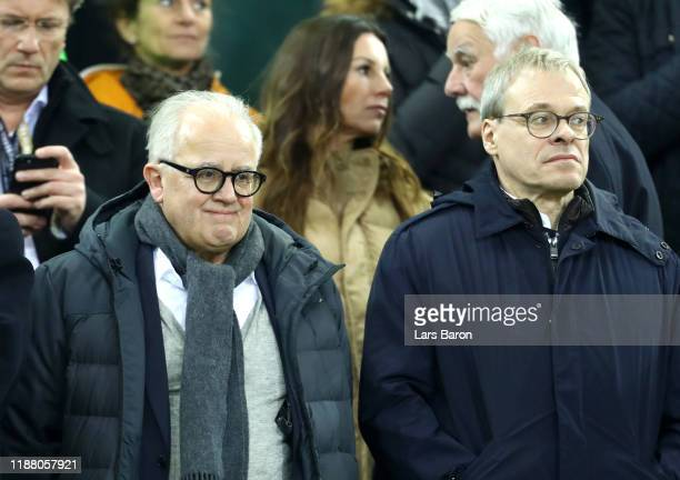 Fritz Keller, President of DFB and Peter Peters, board member of FC Schalke 04, DFB and DFL look on from the stands during the UEFA Euro 2020 Group C...