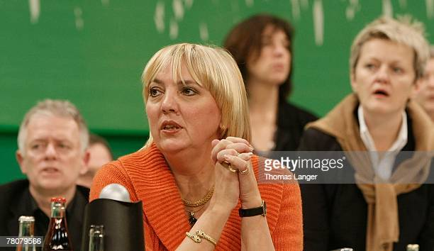 Fritz Kuhn Claudia Roth and Renate Kuenast are seen during the second day of the German Green party's congress at the Frankenhalle on November 24...