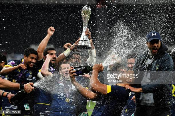 Fritz Lee of ASM Clermont Auvergne celebrates sprays champagne after winning the Challenge Cup Final match between La Rochelle and ASM Clermont at St...