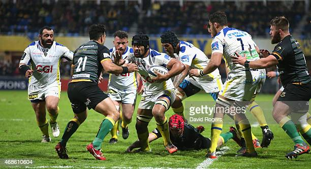 Fritz Lee of Clermont Auvergne charges upfield during the European Rugby Champions Cup quarter final match between Clermont Auvergne and Northampton...