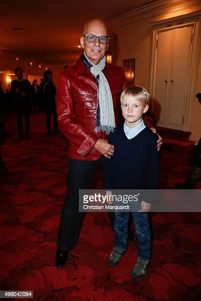 Fritz Puppel and his grandson Fritz attend the premiere of 'Eine Weihnachtsgeschichte' at Theater am Kurfuerstendamm on November 28 2015 in Berlin...