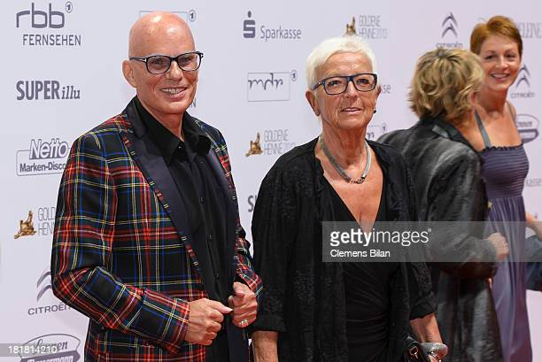Fritz Puppel and wife arrive for the Goldene Henne 2013 award at Stage Theater on September 25 2013 in Berlin Germany