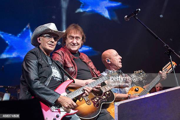 Fritz Puppel Dieter Birr and Toni Krahl of the German bands Puhdys and City perform live during the concert Rock Legends at the O2 World on November...