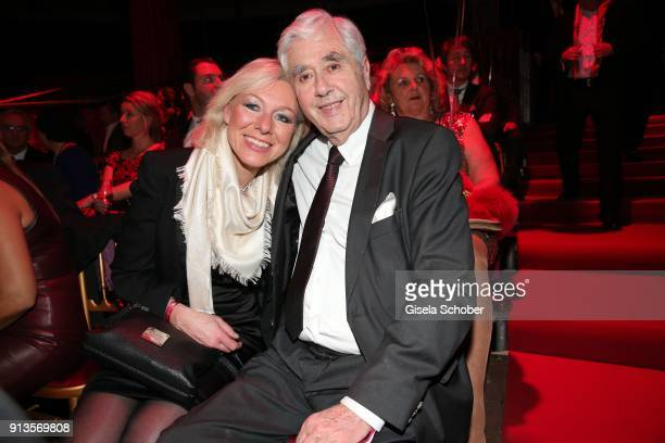 Fritz Scherer and his wife Claudia Scherer during Michael Kaefer's 60th birthday celebration at Postpalast on February 2 2018 in Munich Germany