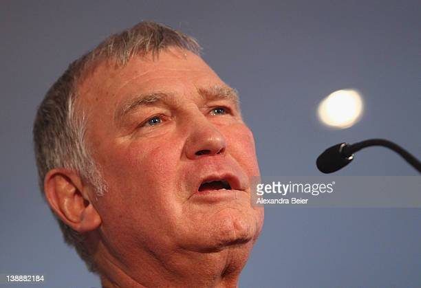 Fritz Sdunek German coach of Ukrainian boxer Vitali Klitschko speaks during a press conference at Westin Grand hotel on February 13 2012 in Munich...
