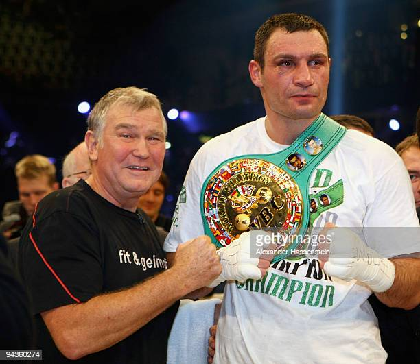 Fritz Sdunek pose with Vitali Klitschko after the fight against Kevin Johnson of the USA for the WBC World Championship Heavyweight title at...