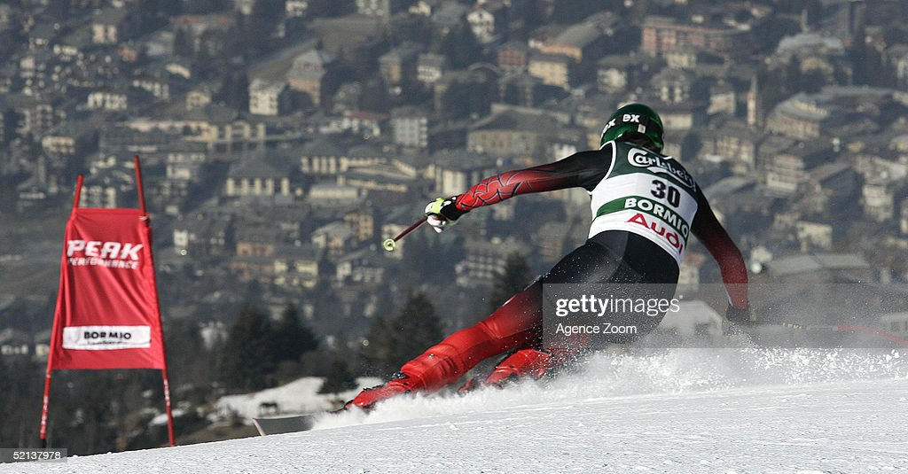 Fritz Strobl of Austria competes in the Men's Downhill at the FIS Alpine World Ski Championships 2005 on February 5, 2005 in Bormio, Italy.