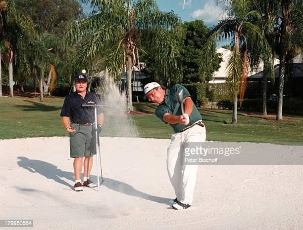 Fritz Wepper Bruder Elmar Golfplatz Palm Beach/Florida/USA/AmerikaUrlaub Golfschläger Mütze
