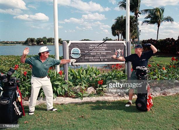 Fritz Wepper Bruder Elmar GolfplatzPalm Beach/Florida/USA/Amerika UrlaubMütze Golftasche Golfschläger