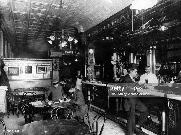 Fritz's Cafe a old town saloon at Dutch and Fulton Street in New York New York circa 1905