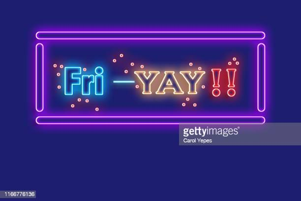friyay text in neon lights - friday stock pictures, royalty-free photos & images