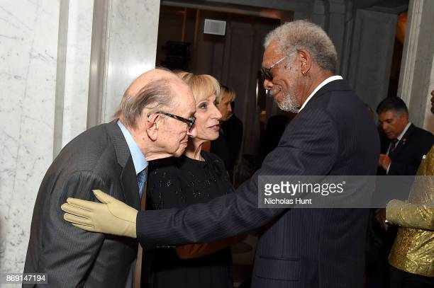 Frmr Chairman of the Federal Reserve Alan Greenspan Andrea Mitchell and Morgan Freeman attend the AFI 50th Anniversary Gala at The Library of...