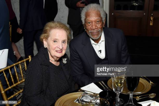Frmr Secretary of State Madeline Albright and Morgan Freeman attend the AFI 50th Anniversary Gala at The Library of Congress on November 1 2017 in...