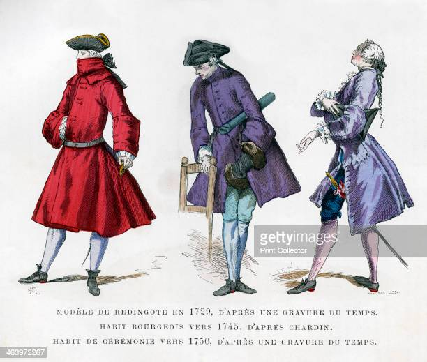 Frock coat of 1729 bourgeois fashion in 1745 and ceremonial dress of 1750 A print from La France et les Français à Travers les Siècles Volume IV F...